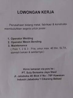 [Bekasi] Lowongan Kerja Operator di PT Suly Bersama Jaya Steel
