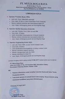 [Bekasi] Lowongan Kerja Operator di PT Mulia Boga Raya